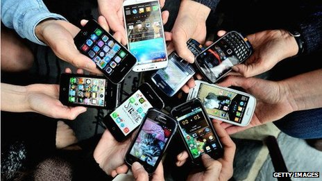 Group of smartphones
