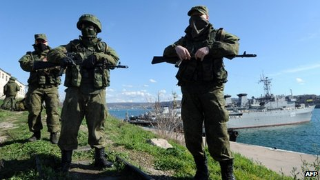 Russian forces patrol near the Crimean city of Sevastopol