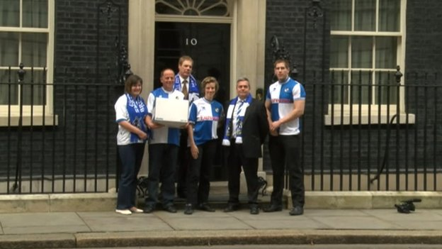Bristol Rovers fans at Downing St