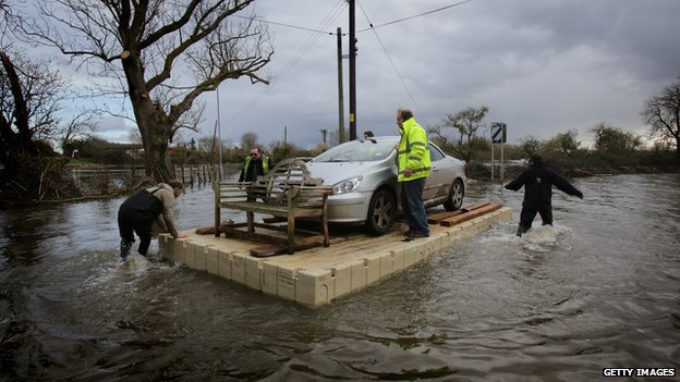 Car cut off by flood waters
