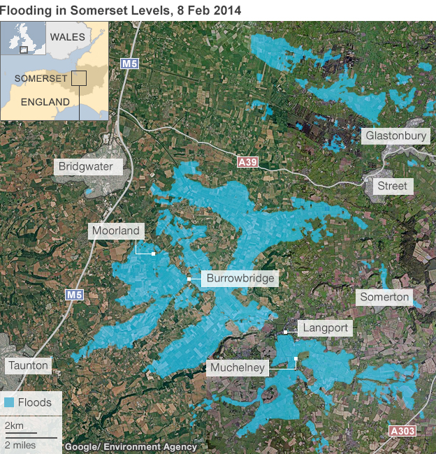 Graphic showing areas of the Somerset Levels that were underwater on 8 February 2014