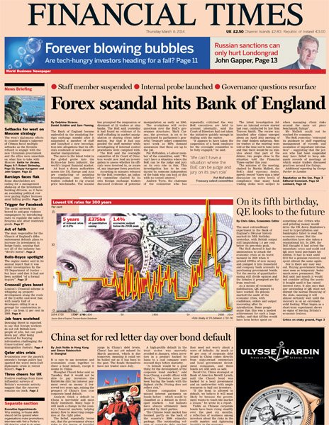 Financial Times front page, 6/3/14