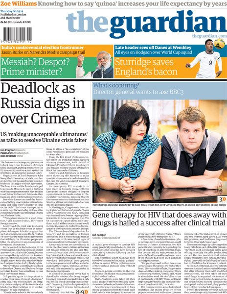 Guardian front page, 6/3/14