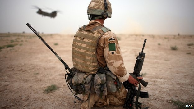 A British soldier secures a helicopter landing strip during operation in Kandahar Province, Afghanistan