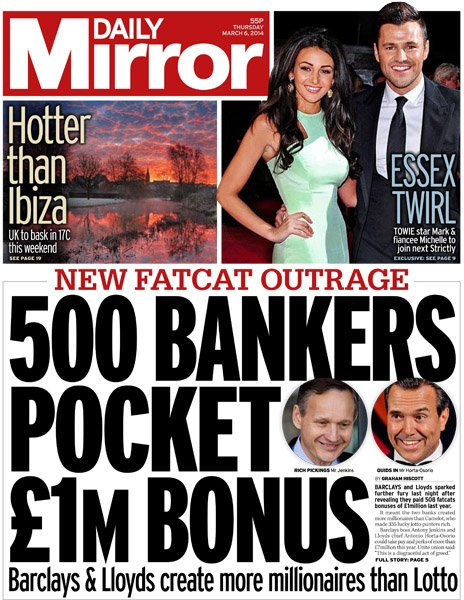 Daily Mirror front page, 6/3/14