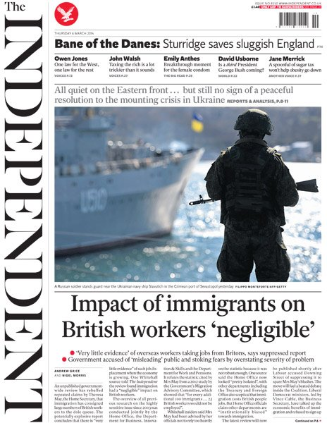 Independent front page, 6/3/14