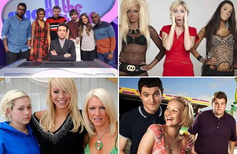 Composite image showing, clockwise from left: Publicity images for BBC Three shows Sweat the Small Stuff; Snog, Marry, Avoid; Gavin and Stacey; and Hotter Than My Daughter