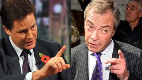 Composite image of Nick Clegg and Nigel Farage