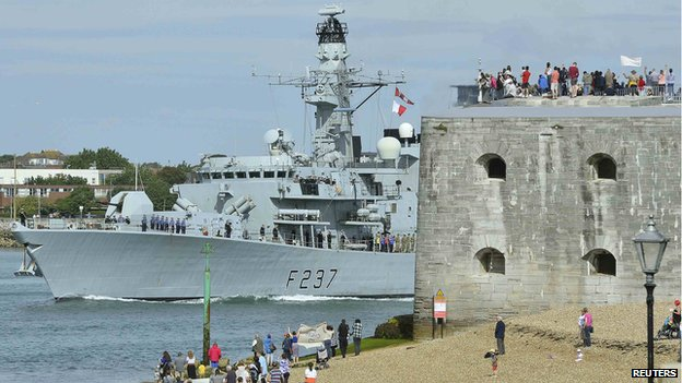 British warship leaving Portsmouth harbour
