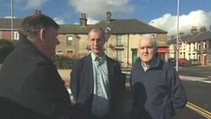 Jack Carr and Steve Wyatt-former Dodworth miners-interviewed by Len Tingle for BBC Look North