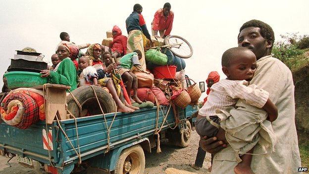 Refugees fleeing the violence in Rwanda in 1994