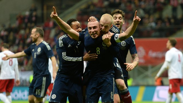 Scotland players celebrate Scott Brown's goal