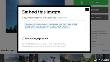 Embed image code on the Getty Images website