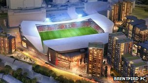 An artist's impression of Brentford's proposed new stadium at Lionel Road