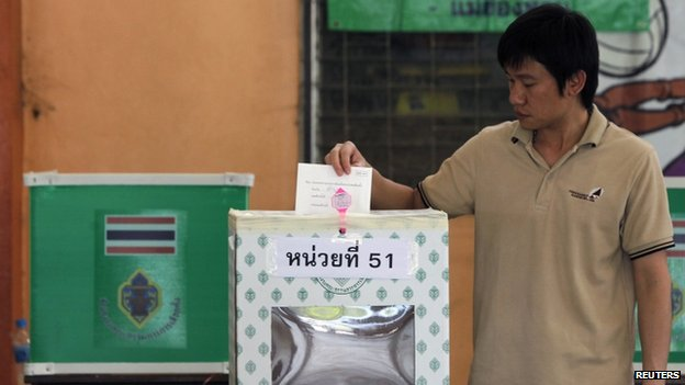 A man casts his ballot at a polling station in Samut Sakhon province, on the outskirts of Bangkok, 2 March 2014
