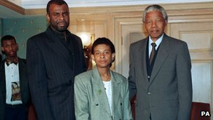 Neville and Doreen Lawrence with Nelson Mandela