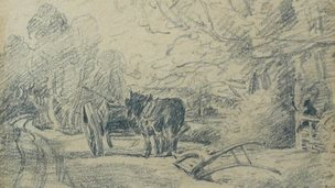 Horse at rest beside a plough 1816