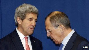 Russian Foreign Minister Sergei Lavrov (right) and US Secretary of State John Kerry meet to discuss the Ukraine crisis in Rome