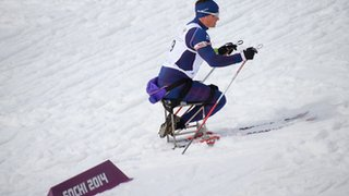 A skier on Sochi's biathlon and cross-country track