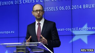 Ukraine's Prime Minister Arseny Yatsenyuk holds a news conference during a European leaders emergency summit on Ukraine, in Brussels on 6 March 2014.