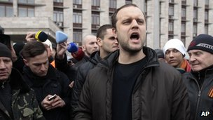 Activist Pavel Gubarev speaks to demonstrators during a rally in front of the regional administrative building in Donetsk, Ukraine, Wednesday, on 5 March 2014.