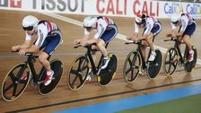 Owain Doull, followed by Ed Clancy, Sam Harrison and Jon Dibben in training