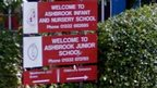 Welcome sign outside Ashbrook Junior School