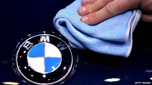 BMW badge being polished