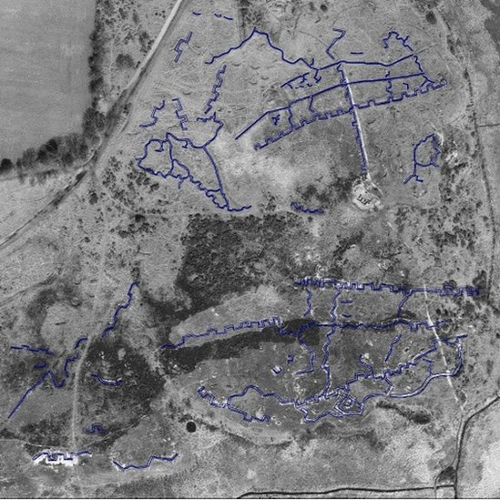 Aerial plan of the lost practice battlefield at Browndown, Gosport, Hampshire.