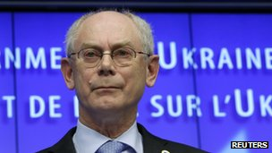 European Council President Herman Van Rompuy speaks at a news conference at the end of a European leaders emergency summit on Ukraine, in Brussels on 6 March 2014.