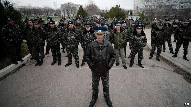 Sevastopol Air Base troops face up to Ukrainian pro-Russian protesters in Belbek, 6 March