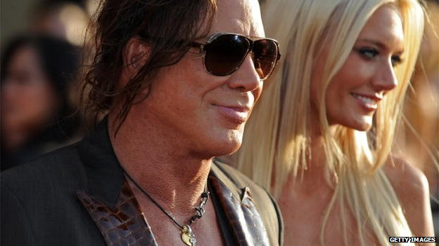 Mickey Rourke with Anastasia Makarenko at the film premiere
