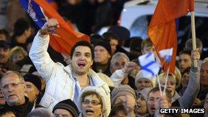People waving Russian flags in Sevastopol, Ukraine