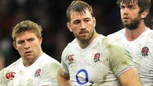 England captain Chris Robshaw (centre) looks on after last year's defeat in Wales