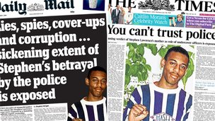 Composite image of Mail and Times front pages