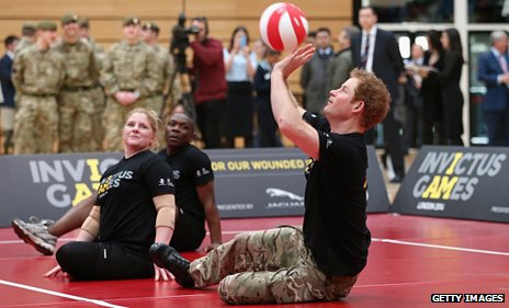 Prince Harry playing volleyball