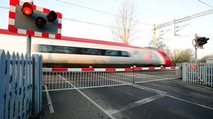 Level crossing and train