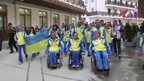 Protest by Ukraine's sports teams in Sochi ahead of the Winter Paralympics