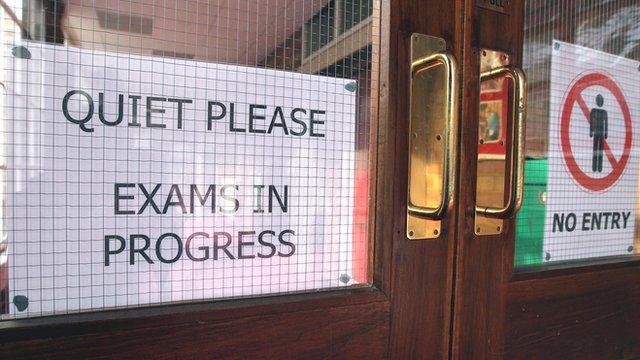 Exam sign on door