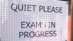 Exam sign on door