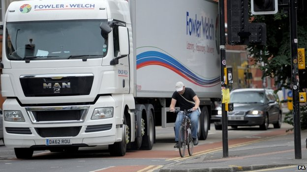 Lorry and cyclist