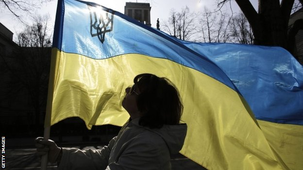 Protestor with Ukraine flag