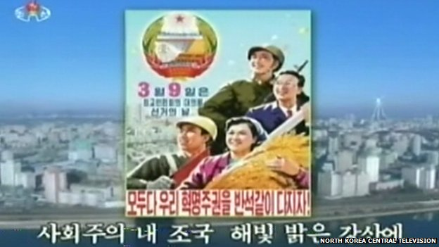 North Korean TV airs an election slogan