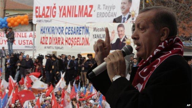Turkish PM Erdogan at AKP rally in Elazig, 6 Mar 14