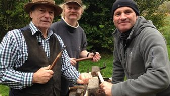 Stuart King, master carpenter, Dr Richard Brunning, archaeologist, Mike Dilger, presenter