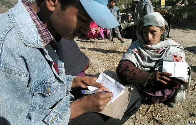 File photo of a Kashmiri man writing a letter