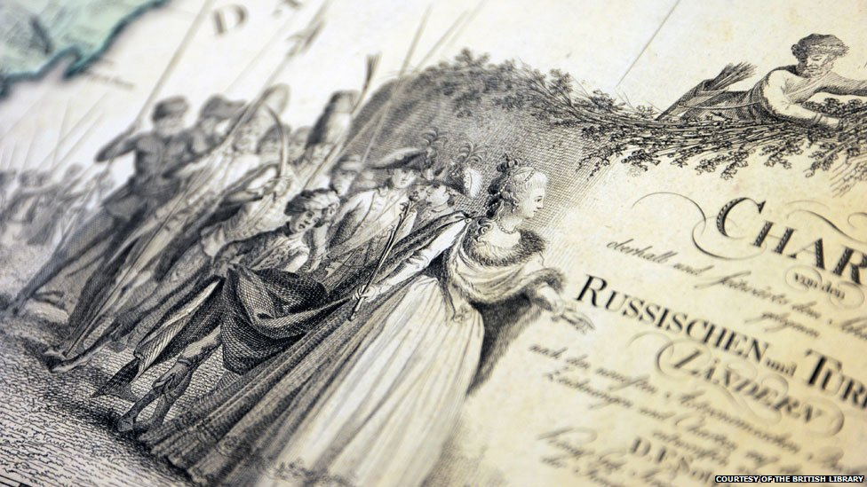 Image of Catherine the Great on a map inscription, courtesy of the British Library
