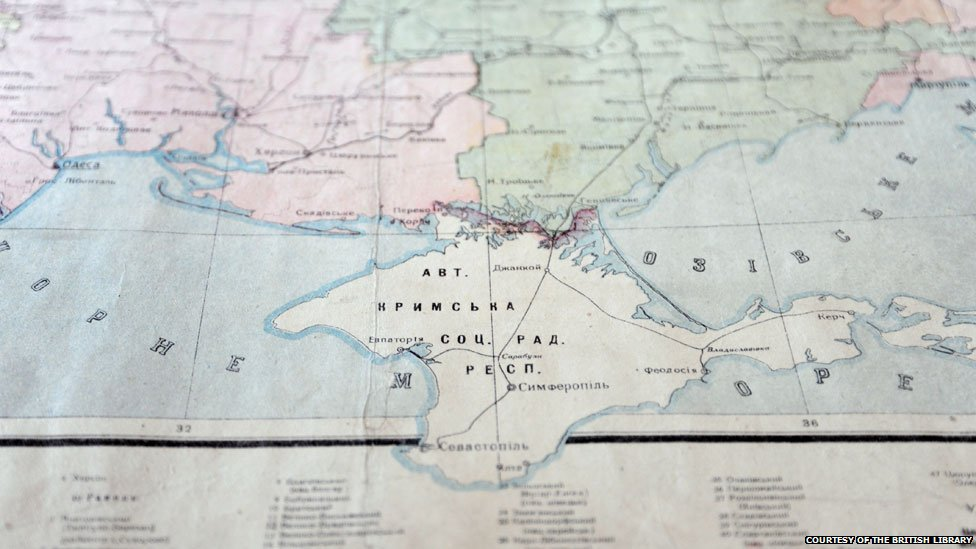 1932 map showing the Crimean Autonomous Republic inside the Russian Federation, courtesy of the British Library