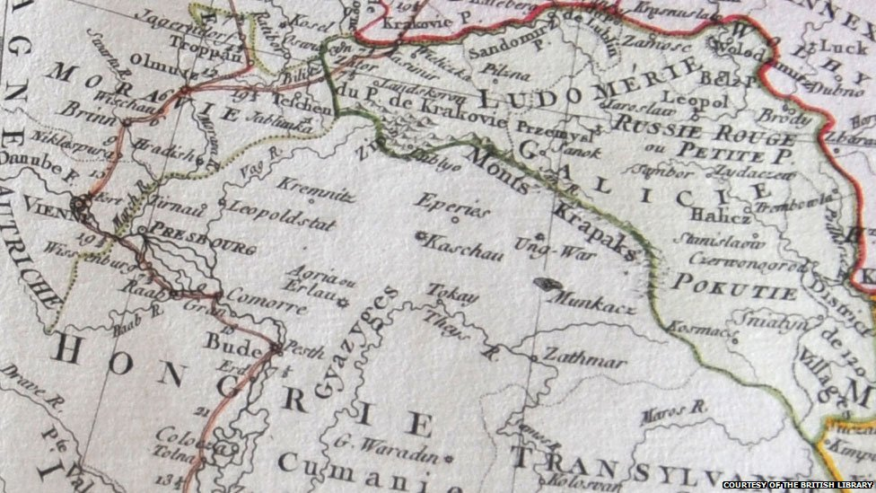 1775 map showing Lviv labelled as Leopoldstat, courtesy of the British Library