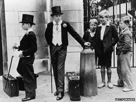 Harrow schoolboys outside Lords
